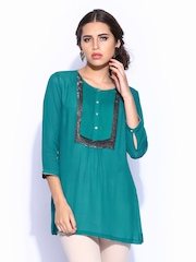 Wills Signature by Rohit Gandhi & Rahul Khanna Women Teal Green Kurti