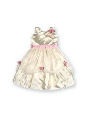 Winakki Kids Girls Cream-Coloured & Pink Fit & Flare Dress