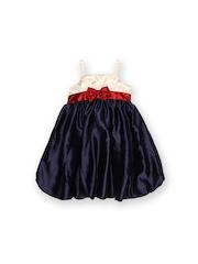 Winakki Kids Girls Navy & Cream-Coloured Fit & Flare Dress