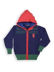 Boys Blue Wool Blend Hooded Sweater Wingsfield