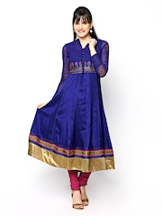 Wishful by W Women Blue Anarkali Churidar Kurta with Waistcoat