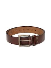 Woodland Men Dark Brown Leather Belt