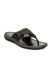 Woodland Men Black & Brown Leather Sandals