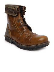 Woodland Men Brown Leather Boots