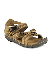 Woodland Men Brown Leather Sports Sandals
