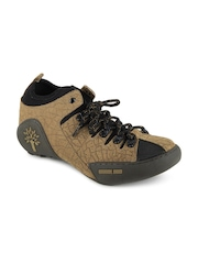 Woodland Men Brown & Black Leather Casual Shoes