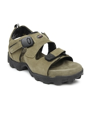 Woodland Men Khaki Leather Sandals