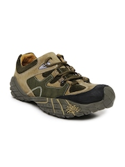 Woodland Men Mushroom Brown & Olive Green Leather Casual Shoes