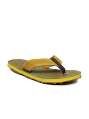 Woodland Men Mustard Yellow Leather Sandals