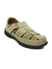 Woodland Men Mushroom Brown Leather Sandals