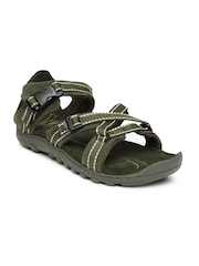 Woodland Men Green Leather Sports Sandals