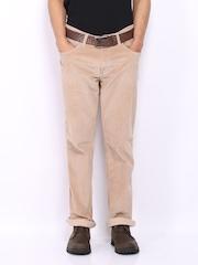 Wrangler Men Beige Slim Fit Corduroy Trousers