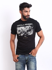 Wrangler Men Black Printed T-shirt