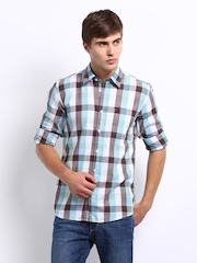 Wrangler Men Blue & Brown Checked Elton Casual Shirt