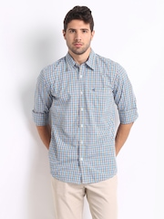 Wrangler Men Blue Checked Bryon Casual Shirt