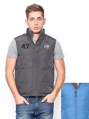 Wrangler Men Grey & Blue Padded Reversible Jacket