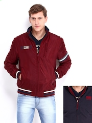 Men Maroon & Black Reversible Jacket Wrangler