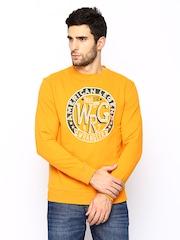 Wrangler Men Mustard Yellow Printed Sweatshirt