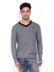 Wrangler Men White & Navy Patterned Sweater