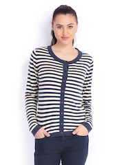 Wrangler Women Cream-Coloured & Navy Blue Striped Cardigan