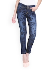 Xblues Women Blue Printed Slim Fit Jeans