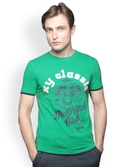 XnY Men Green Printed Jersey T-shirt