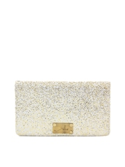 yelloe White & Shimmery Gold Toned Clutch