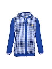 Boys Blue & White Hooded Sweater Yellow Apple