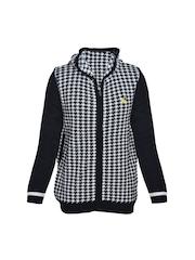 Boys Black & White Hooded Sweater Yellow Apple 550567