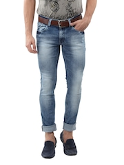 Yellow Jeans Men Blue Acid Wash Narrow Fit Jeans