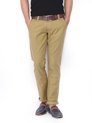 Yellow Jeans Men Brown Printed Narrow Fit Jeans