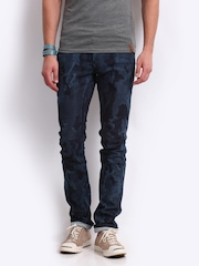 Yellow Jeans Men Navy Printed Narrow Fit Jeans