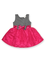 Yellow Kite Baby Girls Black & Pink Fit & Flare Dress