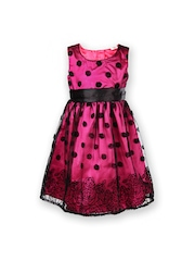 Yellow Kite Girls Pink & Black Fit & Flare Dress
