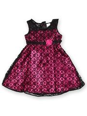 Yellow Kite Girls Pink & Black Fit & Flare Dress