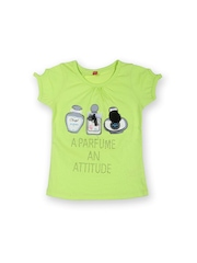 Yellow Kite Girls Lime Green Printed T-shirt