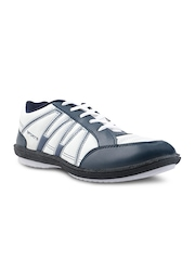Men White & Navy Casual Shoes Yepme