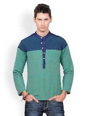 Yepme Men Green Striped Kurta
