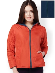 Yepme Women Orange & Navy Reversible Jacket