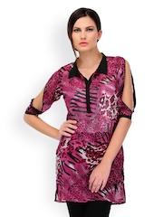Yepme Women Pink Animal Print Sheer Kurti