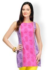 Yepme Women Pink & Purple Printed Kurti