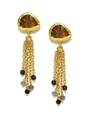 Zariin 22-Ct Gold-Plated & Onyx Chunky Ray Drop Earrings
