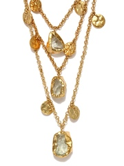 Zariin 22-Ct Gold-Plated & Green Amethyst Waves In The Sea Necklace