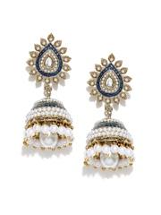 Zaveri Pearls Blue & White Jhumka Earrings