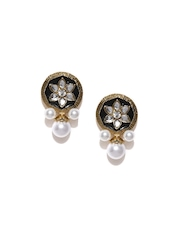Zaveri Pearls Gold-Plated Green Stud Earrings