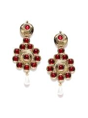Zaveri Pearls Maroon Gold-Plated Drop Earrings