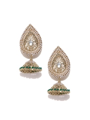 Zaveri Pearls Off-White Gold-Plated Jhumka Drop Earrings