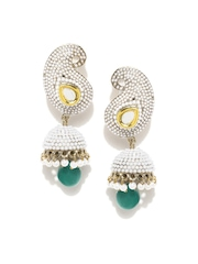 Zaveri Pearls Off-White Gold-Plated Jhumka Earrings