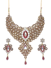 Zaveri Pearls Purple Gold-Plated Jewellery Set