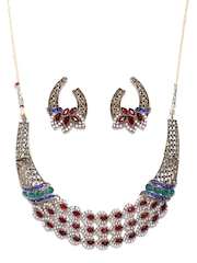 Zaveri Pearls Red & White Gold-Plated Jewellery Set